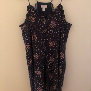 LOFT Navy Blue and Pink Floral Dress